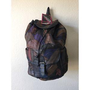 Genuine Leather Patchwork Multi-Color Backpack Bag